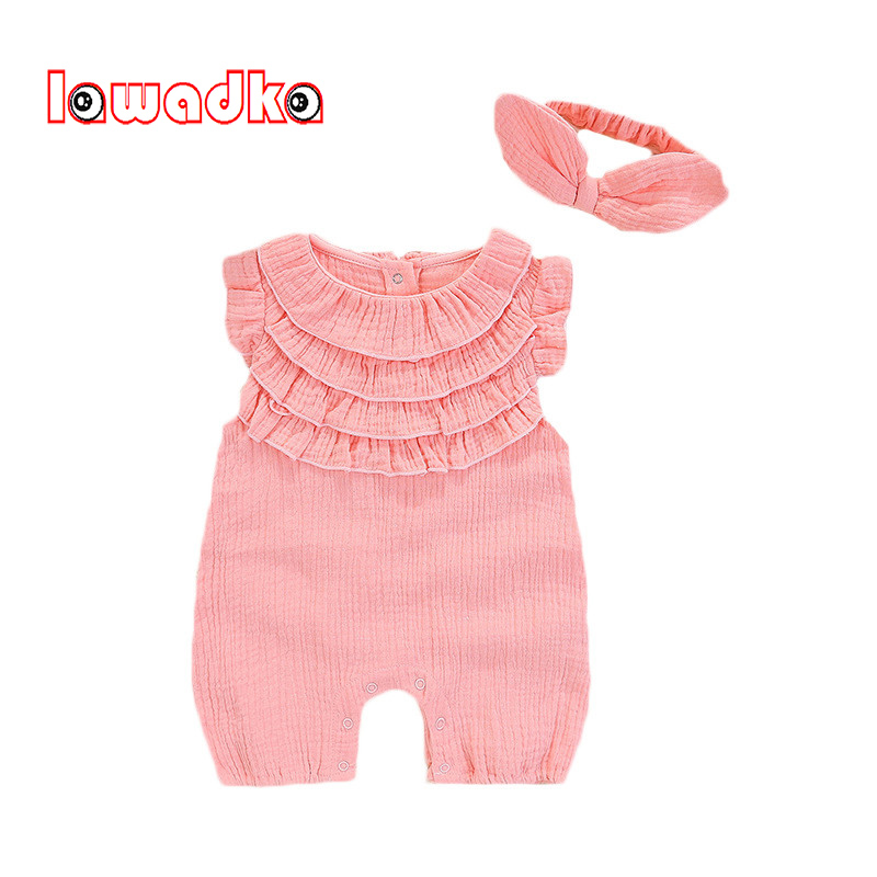 Summer Baby Set Girl Rompers+Bow Headband Jumpsuit Baby Clothing Princess Toddler Romper Newborn Baby Clothes Set Summer Style newborn baby rompers baby clothing 100% cotton infant jumpsuit ropa bebe long sleeve girl boys rompers costumes baby romper