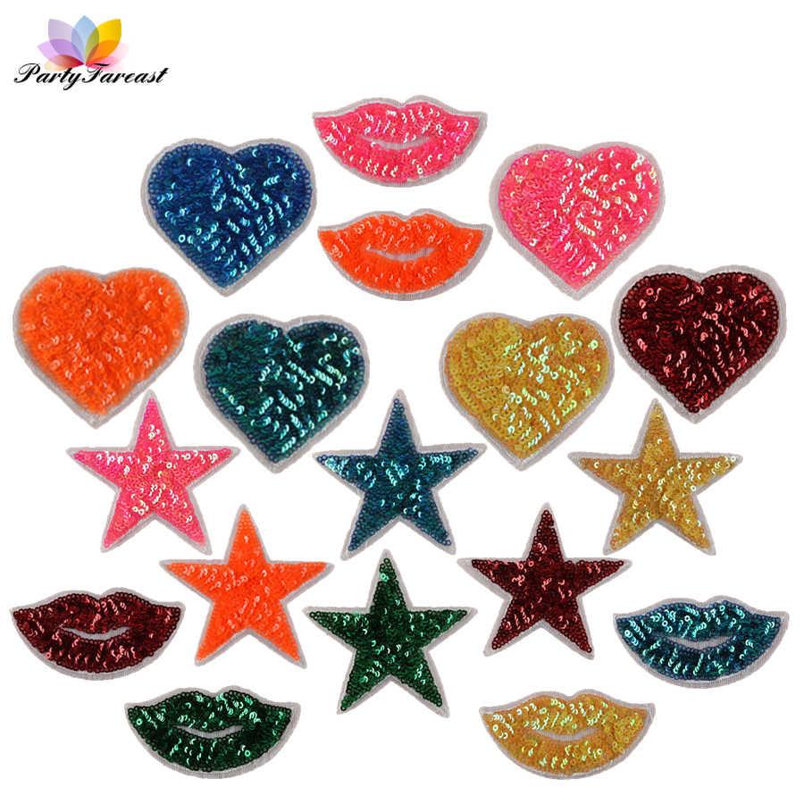 c6a7bc6987af0 PF блесток патчи сердце губ Star Leaf аппликация вышитые наклейки для одежды  железа на патч Жетоны