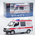 MZ 1/32 Scale Car Model Toys China Ambulance Diecast Metal Pull Back Musical Flashing Car Toy New In Box For Gift/Kids