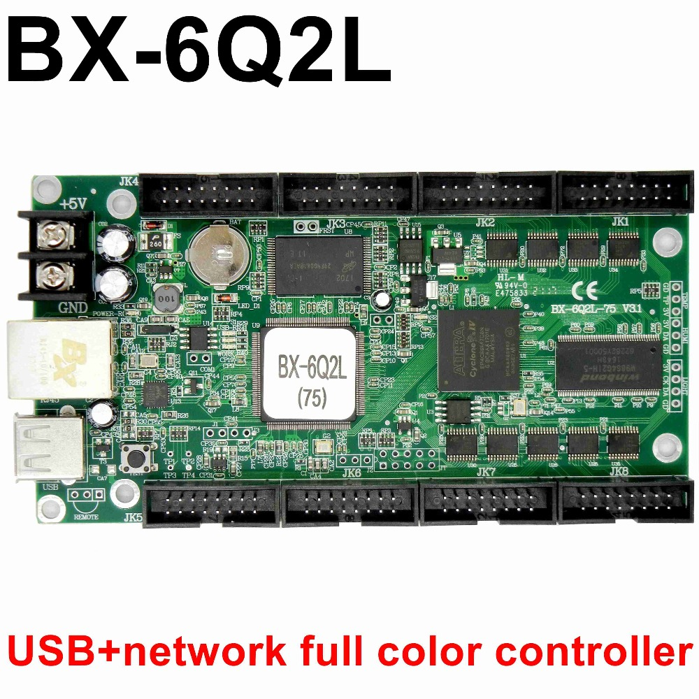 BX-6Q2L full color led control card USB + Ethernet Port asynchronous rgb led lintel display controller 1024*128, 256*512 pixels onbon player bx yq4 full color control box led display screen controller support multi language and multi area display