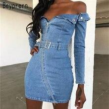 3a46740065 Beyprern Sexy hombro azul lavado Denim desgastado camisa vestido de  primavera para mujer de moda de manga larga Sashed Jeans ves.