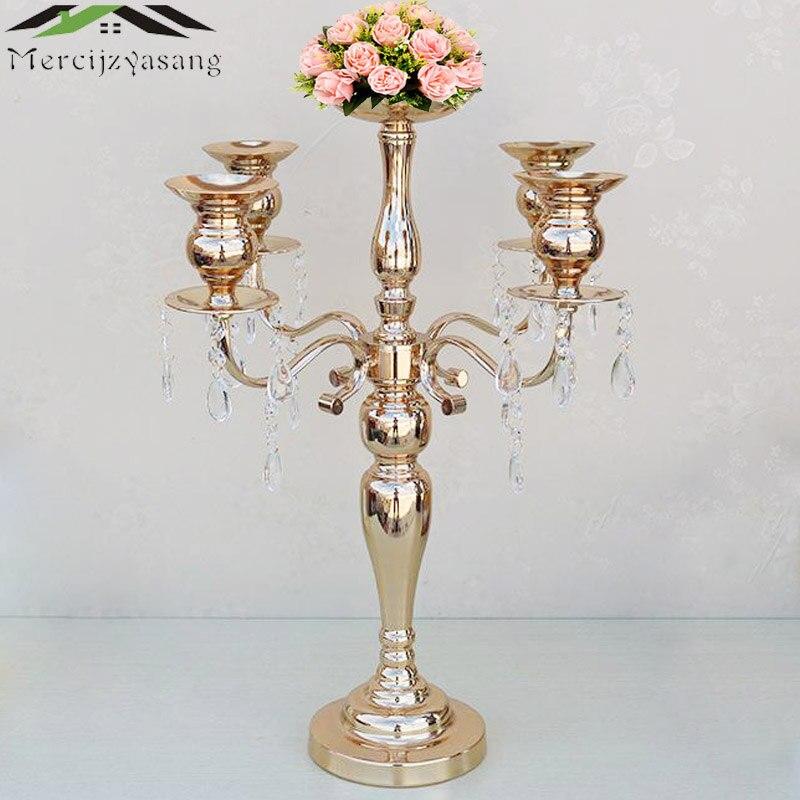 Flover ваза золотистая Подсвечники 5 оружия с кристаллами стоять столб подсвечник для свадьбы Домашний ДЕКОР КАНДЕЛЯБРЫ 02304