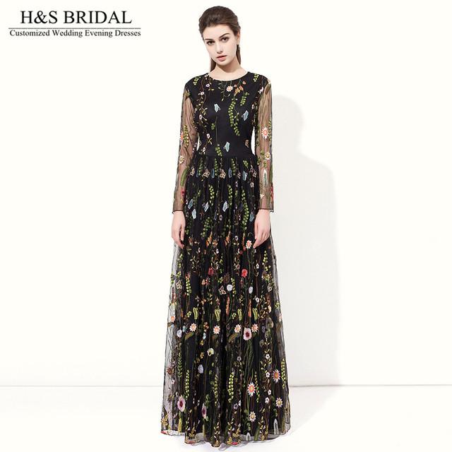 H & s nupcial preto vestidos de baile de manga longa o pescoço bordado lace prom dress robe de mariage vestido de noite muçulmano dress 2017