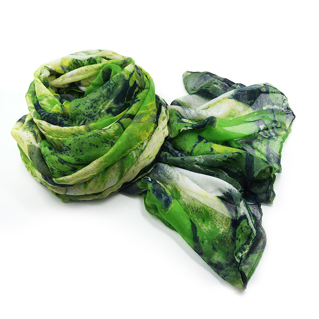 Green Nature Parrot Scarf | Lightweight Scarves