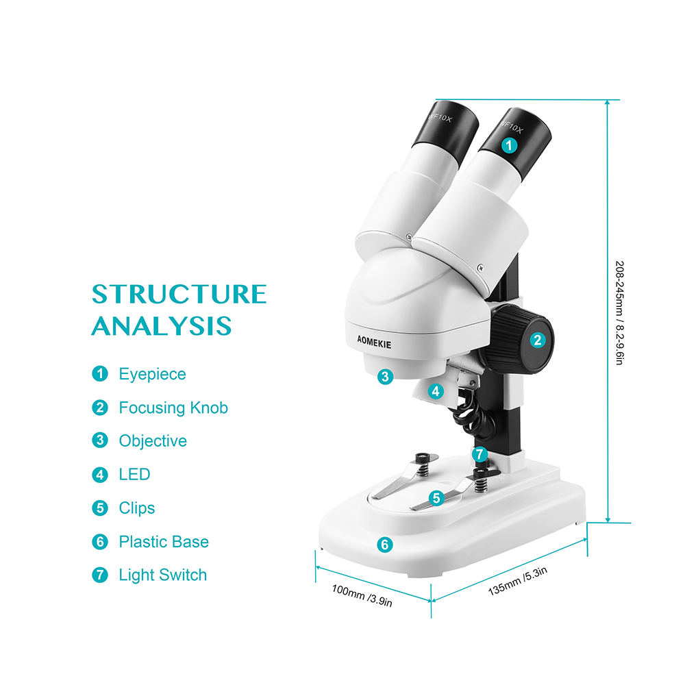 AOMEKIE 20X Lornetka Mikroskop stereoskopowy Góra LED HD Obraz PCB - Przyrządy pomiarowe - Zdjęcie 6