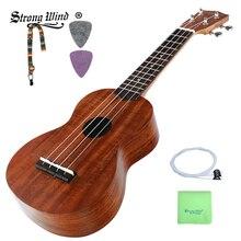Сильный ветер 21 дюймов укулеле концертная акустическая мини гитара из палисандра гриф 4 нейлоновые струны Гавайская гитара для начала