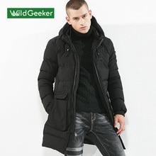 Wildgeeker 2017 Men's Winter Parkas Solid Color Hooded Long Cotton Jacket Medium-Long Thick Coat Men Overcoat Plus Size M-3XL