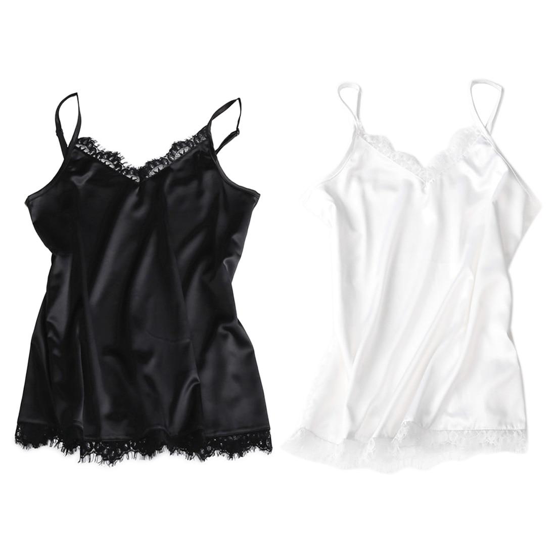 Satin Eyelash Lace Trim Strappy V Neck Cami Party Shiny Top Vest Blouse Camisole