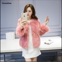 Real Natural Genuine Fox Fur Coat With Whole Skin Seven Sleeve Rex Rabbit Sleeve Women Fashion