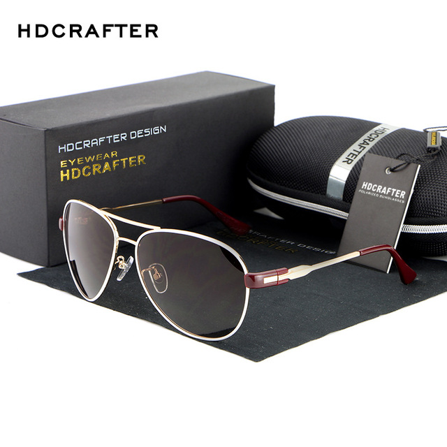 HDCRAFTER Men Brand Polarized Sunglasses Driving Aviator Sunglasses 2016 Hot Brand Design Men Women Sun Glasses oculos E878-3