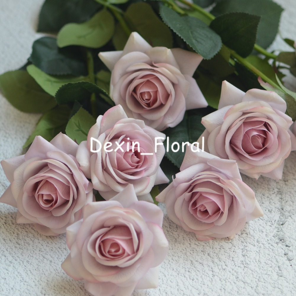 Pale Mauve Real Touch Silk Roses Diy Silk Bridal Bouquets Wedding