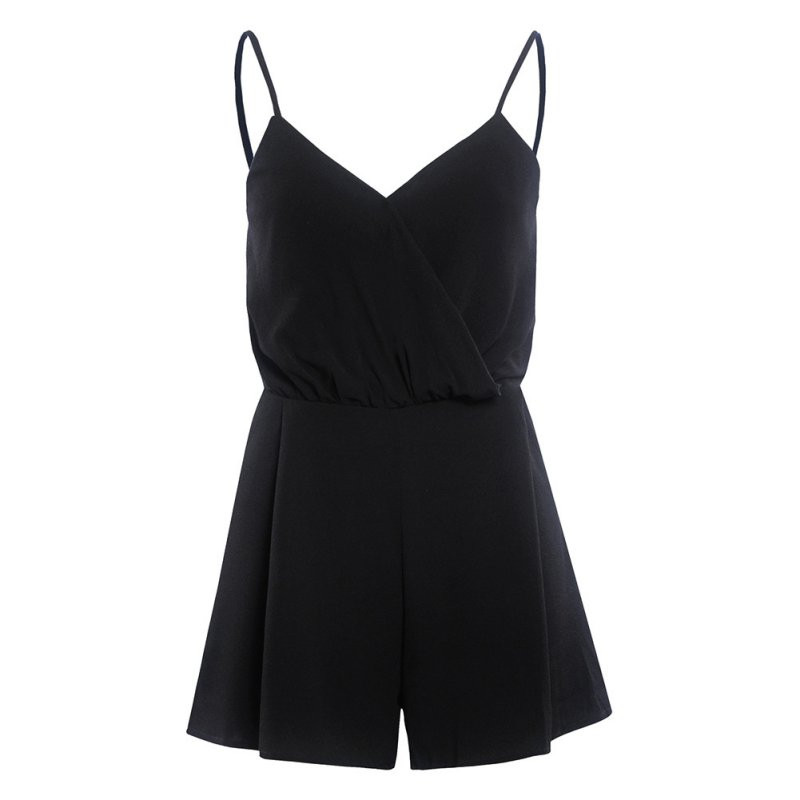 Sexy Deep V-Neck Rompers Club Pub Femal Girl Playsuit Romper Summer Solid Black Bodycon Jumpsuit