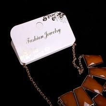 100pcs/lot Kraft Fashion Jewelry Necklace & Pendant Card 11.5x8.9cm Paper Craft Gold Foil Ptint Hang Tag Displays