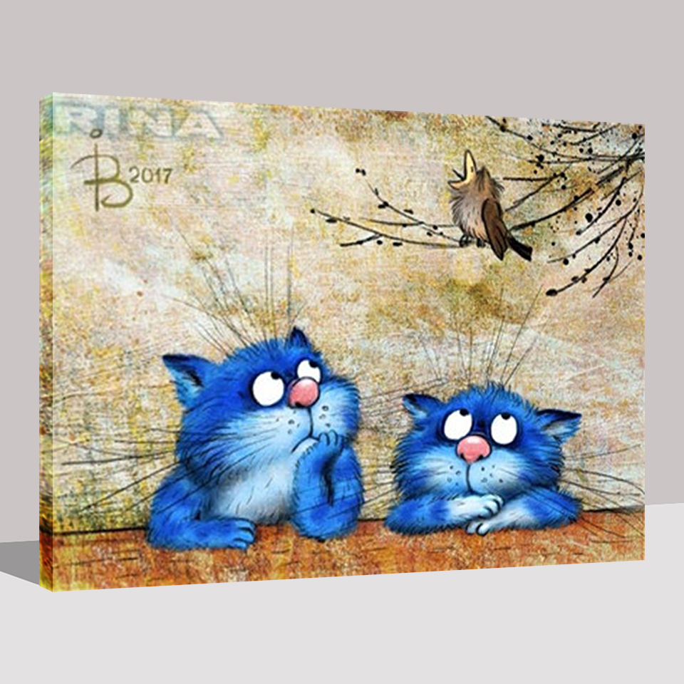 Modular Pictures For Living Room Home Decor Blue Cute Cat DIY Oil Painting By Numbers Hand Painted Modern Framework Wall Canvas in Painting Calligraphy from Home Garden