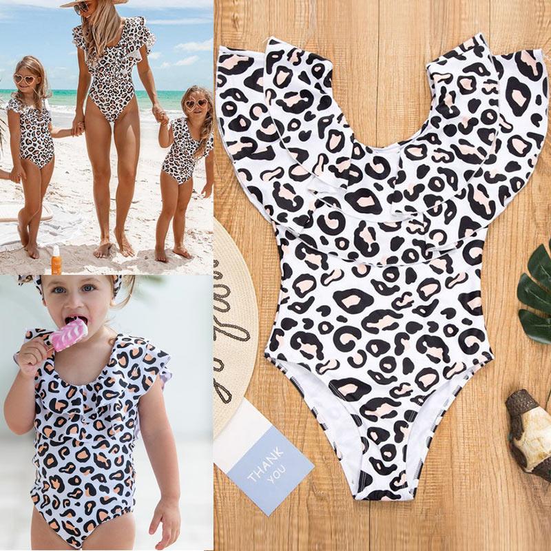 Mutter & Kinder Analytisch Mom Tochter Sommer Leopard Gedruckt Bademode Off-schulter Rüschen Bikini Yjs Dropship Babykleidung Mädchen