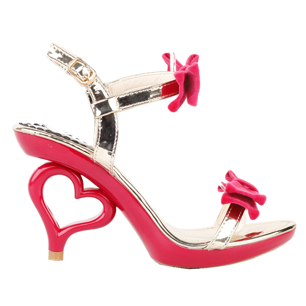 LF60807 Black/Red Gold Double Bows Strappy Bride Wedding Sandals Size 4/5/6/7/8/9/9.5