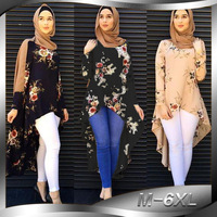 2019 Fashion Women Muslim Summer Blouse O Neck Long Sleeve Plus Size 6XL Asymmetrical Printed Flower Womens Tops and Blouses