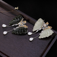 Real 925 Sterling Silver High Quality Brooch Jewelry Exquisite Natural Stone Butterfly Brooches For Women Fashion Safety Pin