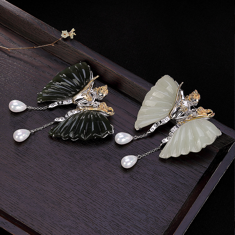 Véritable 925 argent Sterling haute qualité broche bijoux exquis pierre naturelle papillon broches pour les femmes mode broche de sécurité