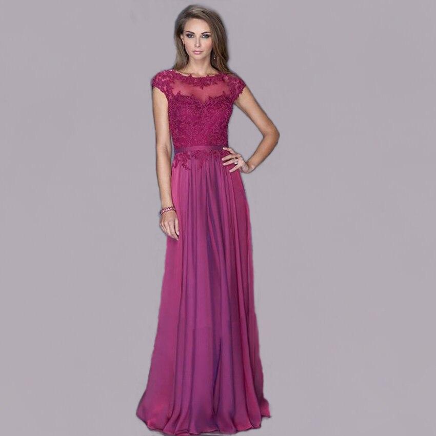 Vnaix E2248 Elegant Cap Sleeves O Neck Pleat Chiffon A Line Customized High Quality Long Lace Formal 2019   bridesmaid     dresses