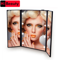 1PC Tri Foldable Adjustable Portable 8 LEDs Lighted Luminous Touch Screen Makeup Tabletop Stand Smart Mirror