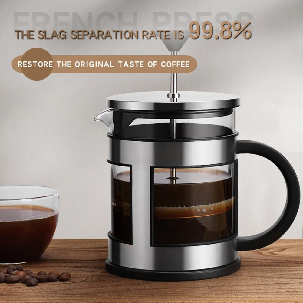6001000ml Stainless Steel French Press Coffee Tea Pot Maker Glass Kettle Filter