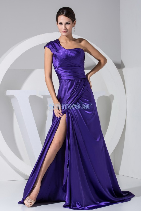 free shipping hot sale new design long one shoulder custom robe de soiree small train purple women party gown   bridesmaid     dresses