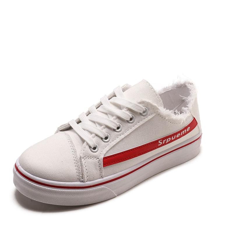 68h04 Femme Sport Respirant Toile Taille 36 Plate Dames Chaussures Sneaker Femmes En Occasionnels forme À rouge Noir Lacets blanc AqSwnOAr