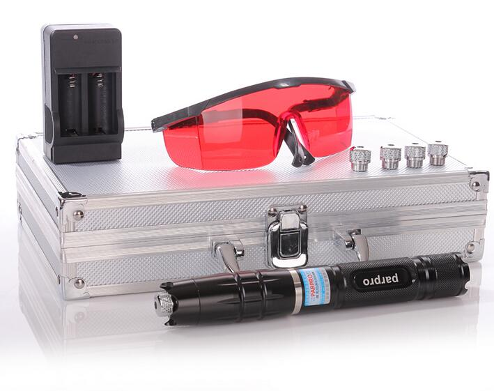 Most Powerful blue laser pointer 100000m 450nm Flashlight LAZER Burning Match/dry wood/black/cigarettes+5 caps+Glasses+box