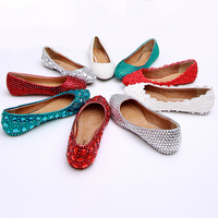 Ballets Flats Women Crystal Wedding Shoes Red White Brides Bridesmaids Shoes Fashion Rhinestone Genuine Leather Ladies Shoes