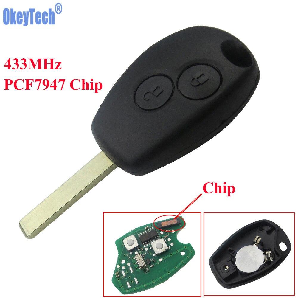 OkeyTech 2 Boutons Télécommande Clé Keyless Entry Fob 433 MHz avec PCF7947 Puce pour Renault Clio Kangoo Maître Modus Twingo