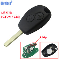 OkeyTech 2 Buttons Remote Control Key Keyless Entry Fob 433MHz With PCF7947 Chip For Renault Clio