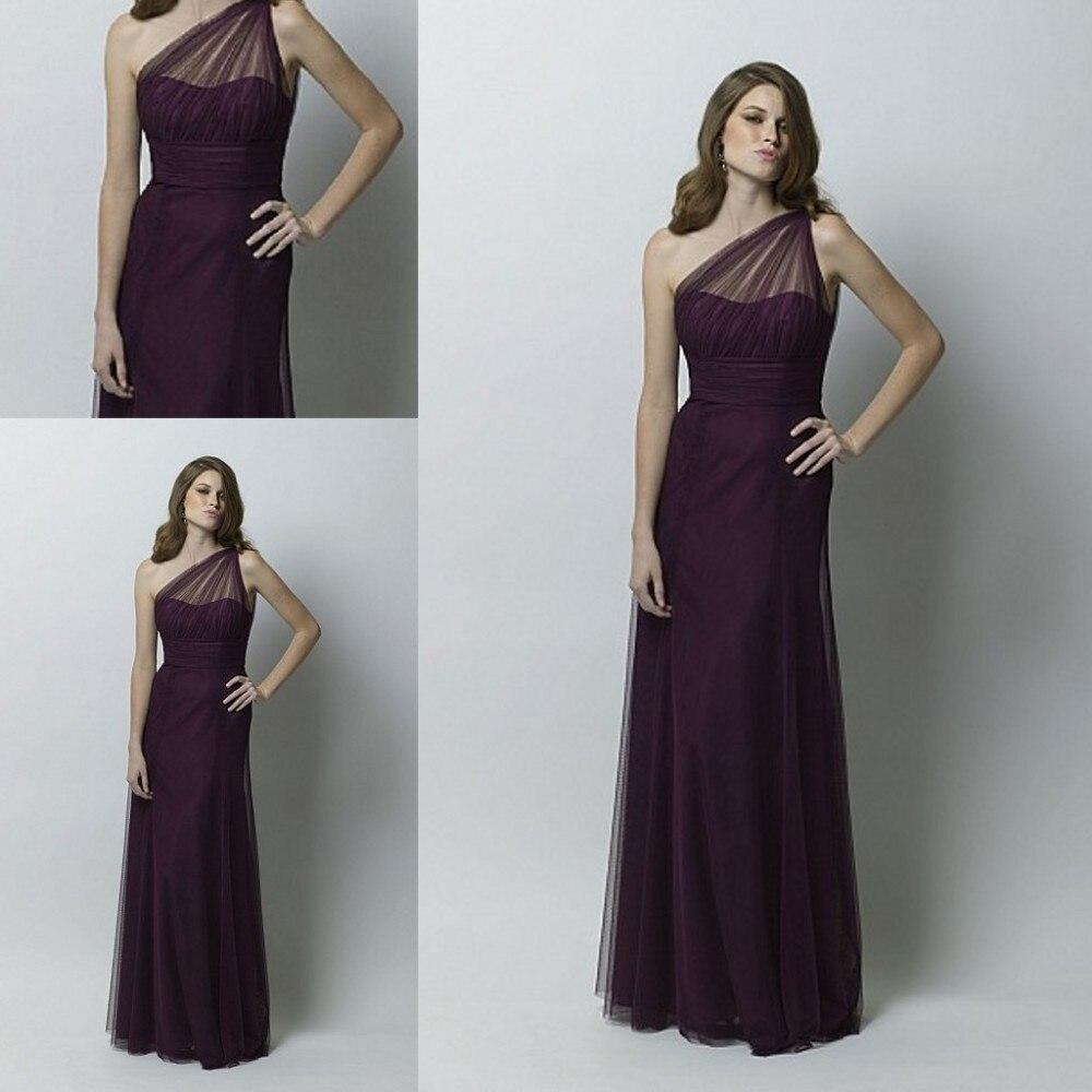 Livraison gratuite une épaule longue Illusion décolleté violet robes de demoiselle d'honneur 2016 pour robe de mariée pour demoiselle d'honneur ZM473