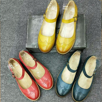 Genuine sheepskin leather brogues yinzo vintage flats shoes handmade oxford shoes for women 2018 summer blue yellow red