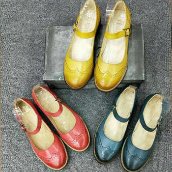 Genuine sheepskin leather brogues yinzo vintage flats shoes handmade oxford shoes for women 2018 summer blue yellow red - DISCOUNT ITEM  52% OFF All Category