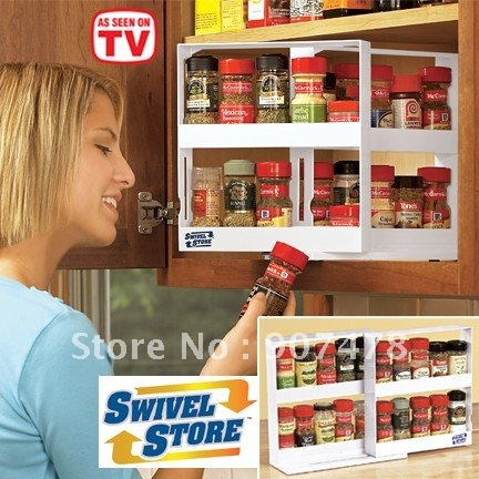 Free Shipping 40pcs Lot Swivel Store Spice Rack As Seen On TV Space