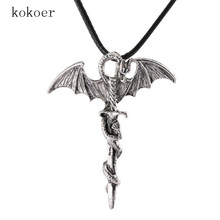 stainless steel chain long Pterosaur chokers Loong necklaces for men Collar woman ras the neck joyas crystal The sword necklace