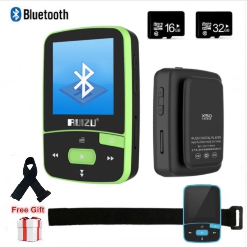 Original RUIZU X50 Sport Bluetooth MP4 Player 8GB Clip Mini Music MP4with Screen Support FM,Recording,E-Book,Clock,Pedometer