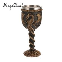 MagiDeal Practical Gothic Double Wall Resin Stainless Steel Dragon Wine Goblet Steampunk Collectible Decorative Craft Gift Cup