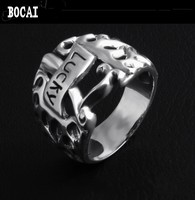 925 Silver Personality Flame Pattern Lucky Handle Thai Silver Ring Men and Women