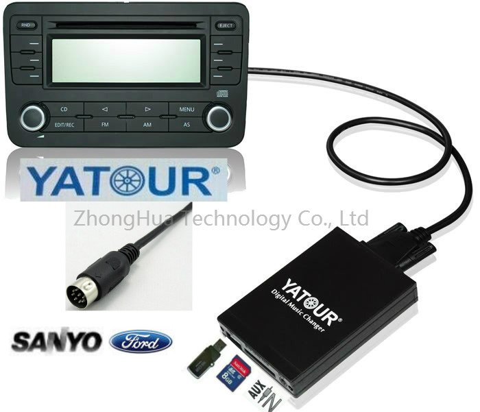 Yatour Digital Car Audio USB Stereo for Sanyo Ford Fiesta SD AUX CD Changer Bluetooth adapter interface kit-MP3 integration
