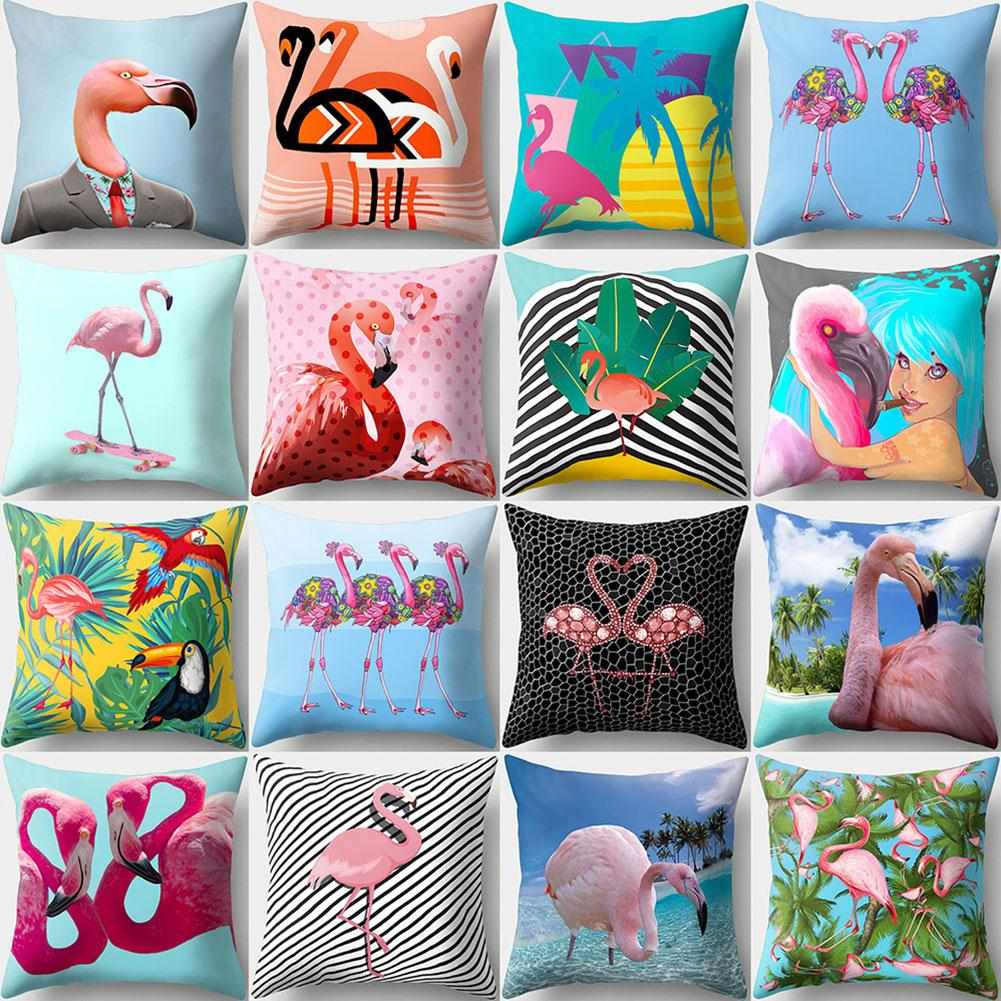 1pc Cute Flamingo Print Pillow Case Waist Throw Cushion Cover Bedroom Decor 45cm x 45cm ...