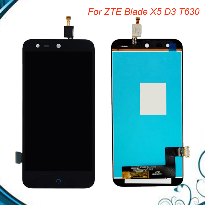 100% Tested Black Full LCD DIsplay + Touch Screen Digitizer Assembly For <font><b>ZTE</b></font> Blade X5 / Blade D3 <font><b>T630</b></font> Free shipping image