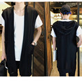 2016 Fashion Solid Color Sleeveless Fancy Men Cardigan Brand Clothing Long Sections Hip Hop Men's Cardigans