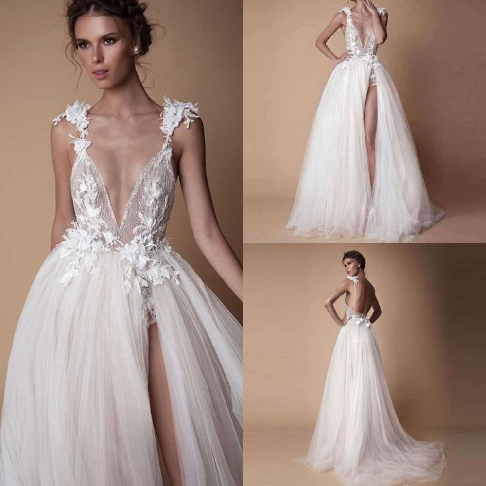 Chic Boho Gowns Formal Dress Abendkleider Appliques Long Pageant Dresses  Tulle Wedding Gown Slit Robe De Mariee Vestido De Noiva