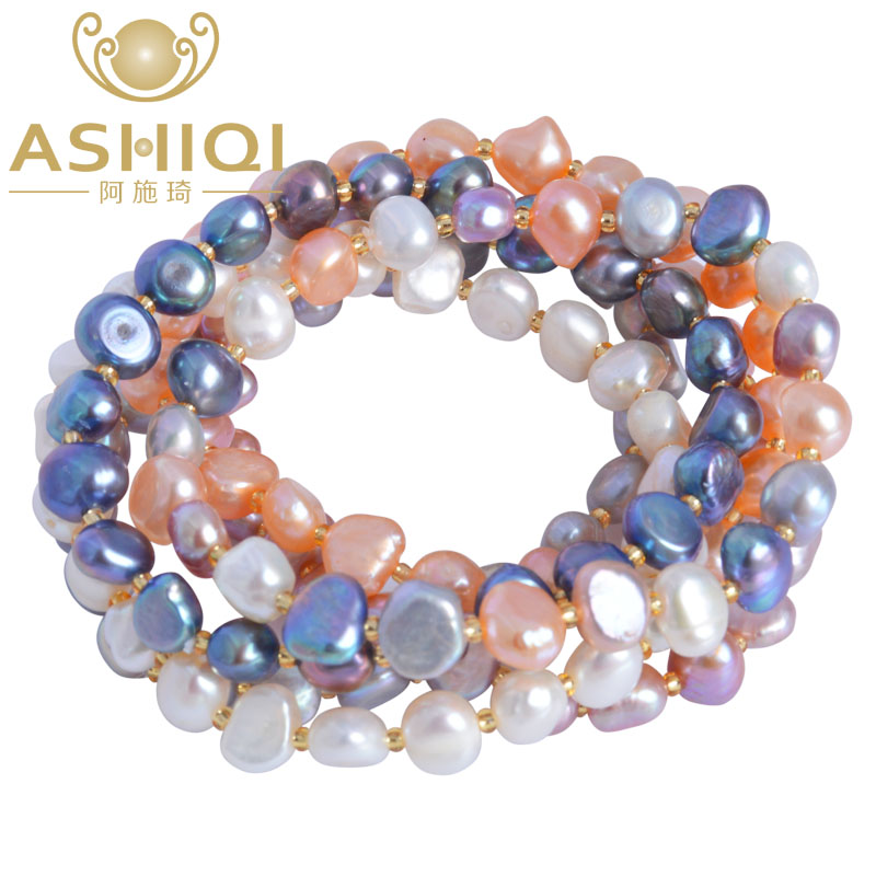 ASHIQI Freshwater Pearl bracelets for women Multi Color Baroque Pearl Crystal Beaded Bracelets & Bangles FI jewelry gift pearl beaded frill trim mesh blouse