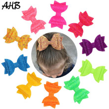 AHB Fashion 3 Small Glitter Hair Bows for Girls Sparkly Clips Handmade Princess Barrettes Kids Hairpins Birthday Headwear