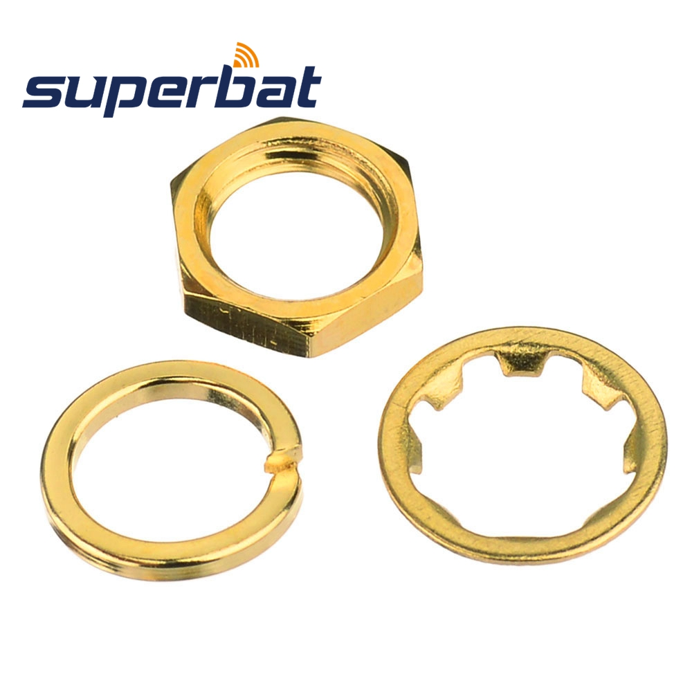 Superbat RF SMA Nut Gasket Tooth Washer SMA Female Dedicated Gold Plated Antenna Seat Accessories SMA Screw Washer For Connector