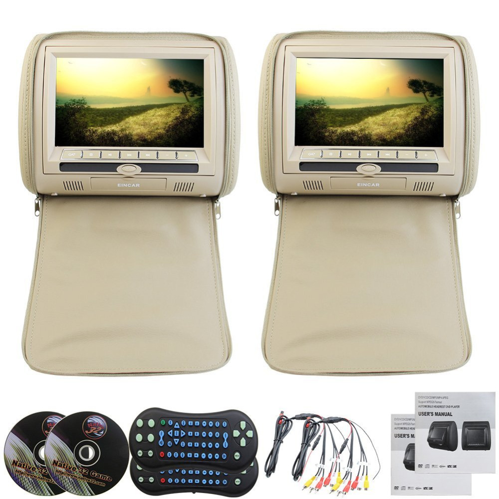 A Pair of Digital LED Headrest 9 Inch Dual Pieces LCD Region for Sony DVD player USB SD 32 Bit Games Ziper Covers Car Monitors beige dual dvd usb sd car headrest monitors lcd display digital screen dvd player headrest 2video game control 2ir headphones