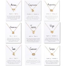 12 Constellation Necklace Pisces Aquarius Aries Taurus Leo Capricorn Choker Birthday Gifts Pendant Necklace White Message Card stylish lucky clover constellation style pendant necklace aries